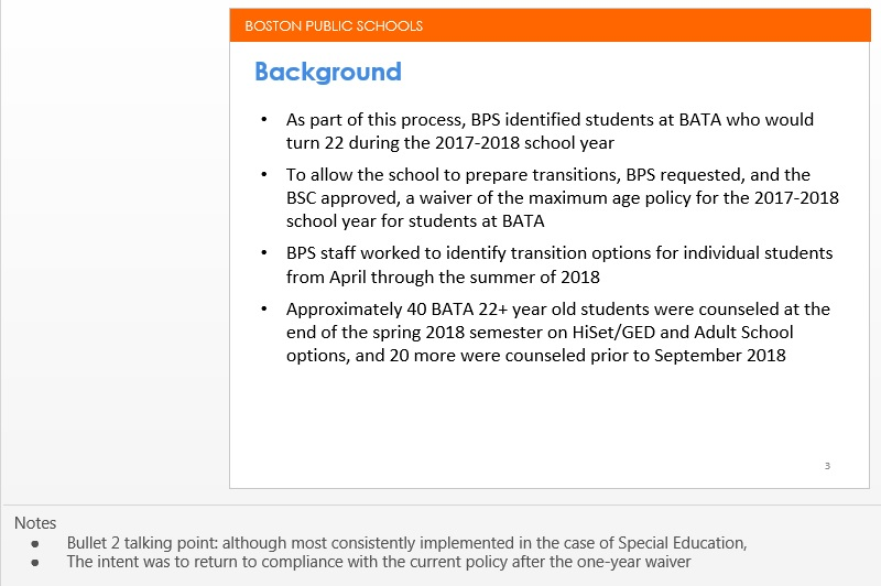 A screenshot showing BPS's presentation on BATA and attached notes.