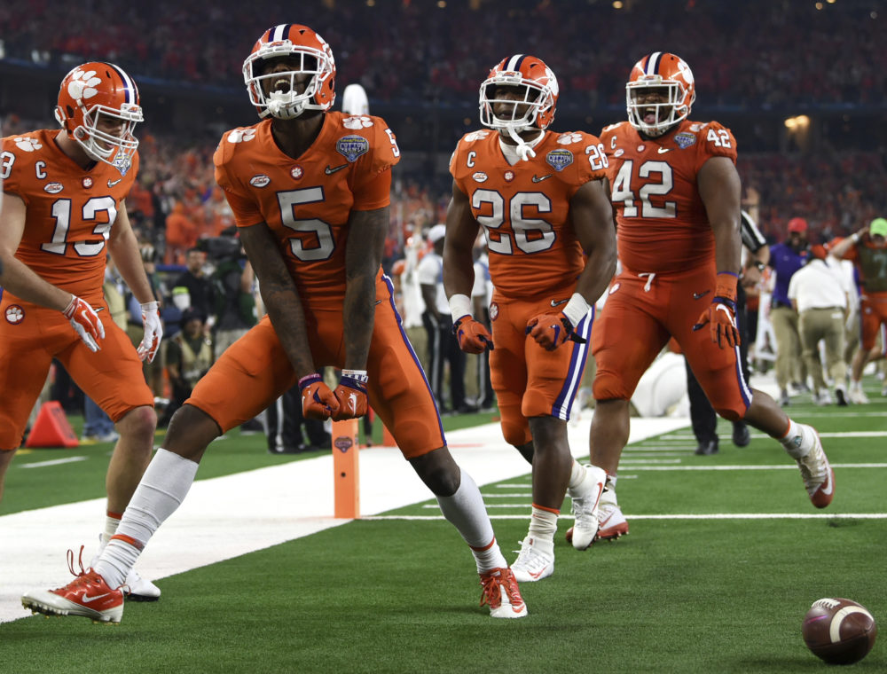 Clemson wide receiver Tee Higgins celebrates his touchdown in the first half of the BCS Semifinal against Notre Dame. (Jeffrey McWhorter/AP)
