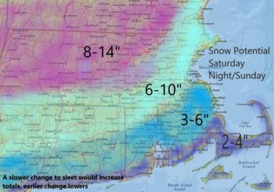 Snow totals could be higher or lower based on how much sleet mixes into the storm. (Dave Epstein)