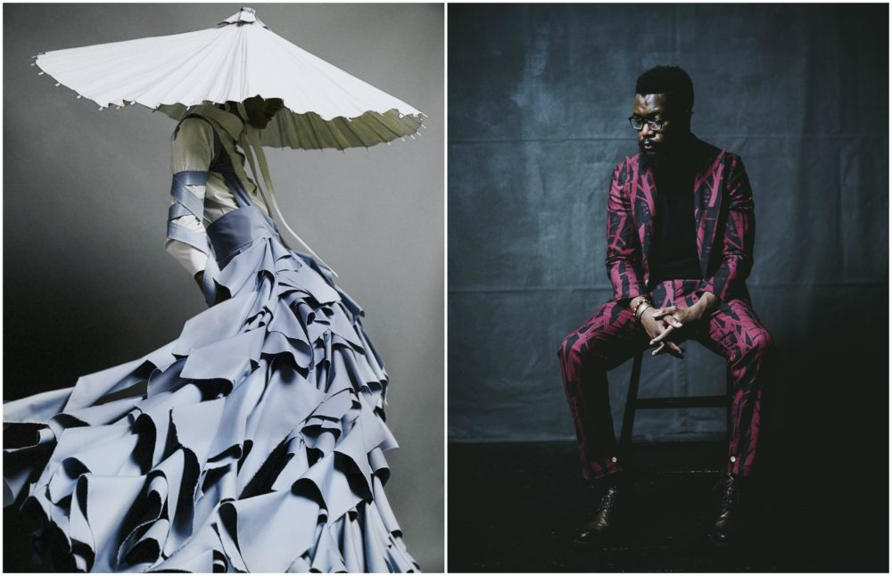 "Alessandro Trincone's ""Annodami"" and a suit from the Born Between Borders collection. (Courtesy MFA)"