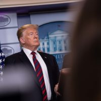 U.S. President Donald Trump listens to a speaker in the briefing room at the White House in Washington, DC, on January 3, 2019. (Nicholas Kamm/AFP/Getty Images)