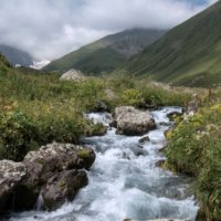 A picture taken on August 13, 2017 shows a stream in the Chiukhi Massif in the Caucasus Mountains in Georgia on August 13, 2017 near Stepantsminda. (Joel Saget/AFP/Getty Images)