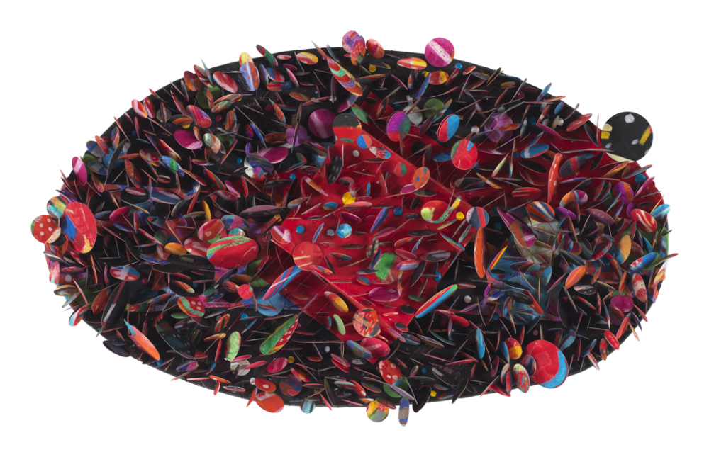 "Howardena Pindell's ""Untitled 5B,"" made in 2007. (Courtesy of the artist and Garth Greenan Gallery, New York)"