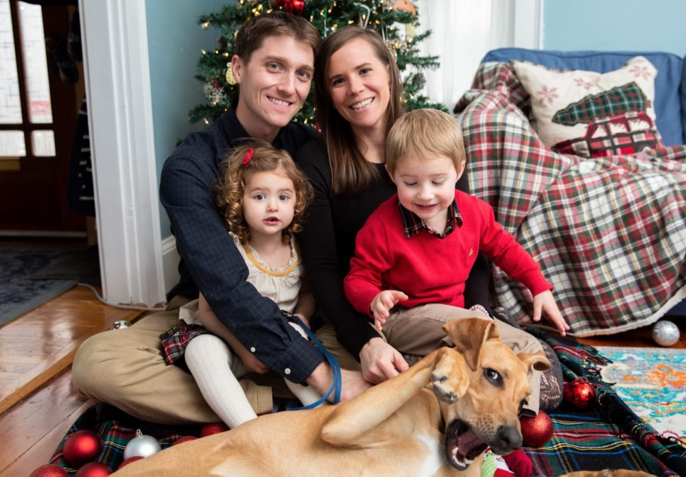 Kyle, Lauren, Cora and Cody Stetson, and Pua the puppy (Courtesy of Jamie Isherwood Photography)