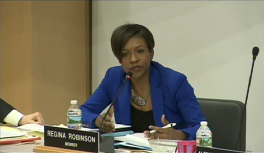 Dean Regina Robinson at a 2016 meeting of the Boston School Committee. (Courtesy Boston City TV)