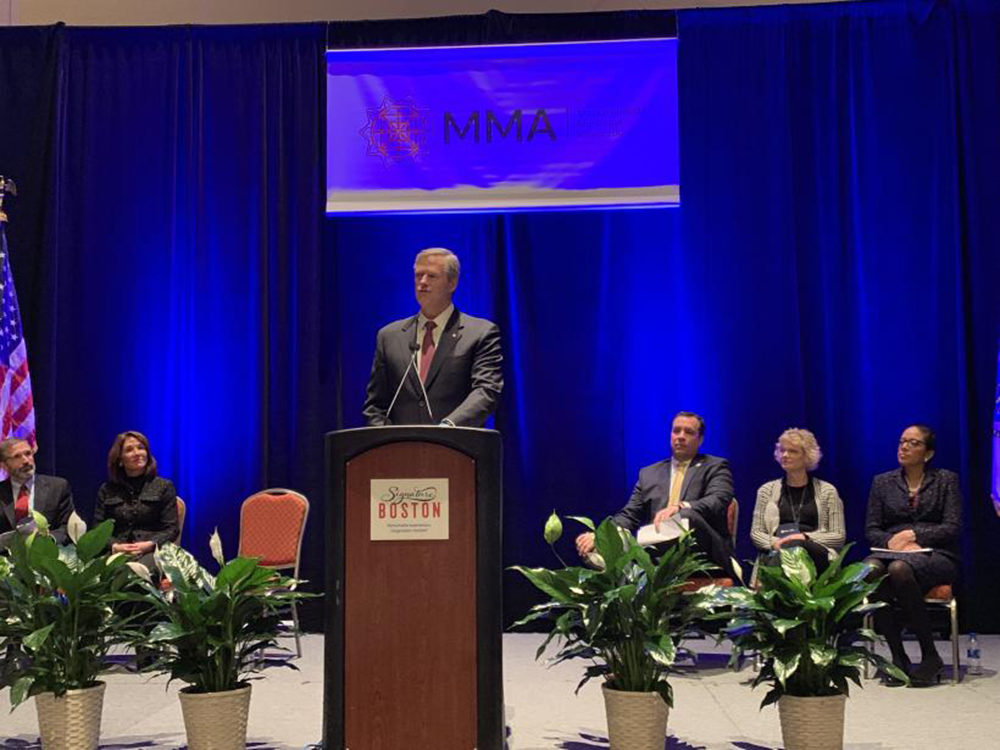 Gov. Charlie Baker speaks Friday at the Massachusetts Municipal Association's annual meeting to unveil plans to invest in climate change initiatives and bring more local aid funds to the state's towns and cities. (Courtesy Gov. Baker's office)
