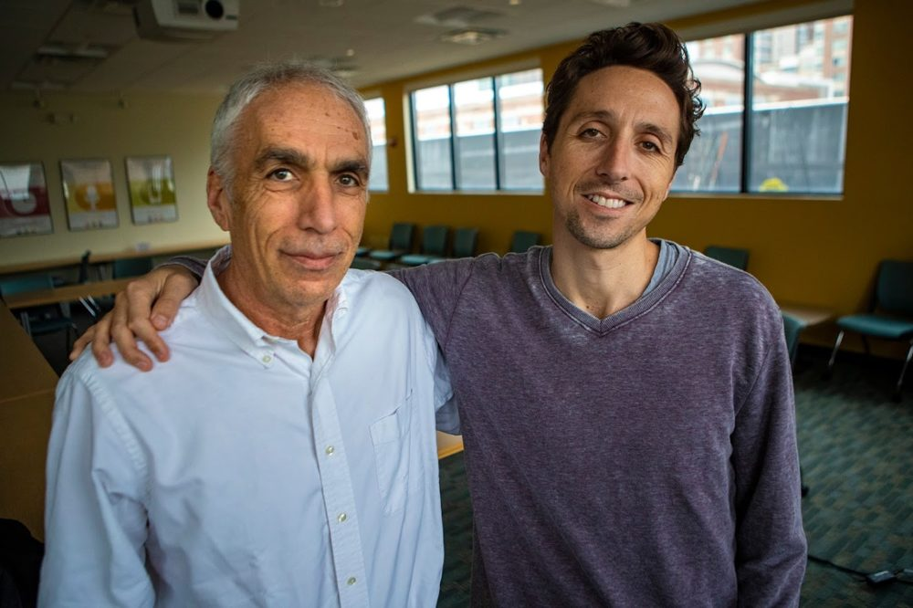 David and Nic Sheff. (Jesse Costa/WBUR)