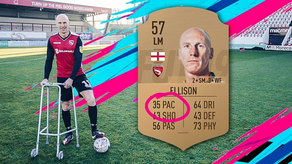 Kevin Ellison jokingly poses with a walker after receiving a 35 pace rating in FIFA 19. (Courtesy YouTube)