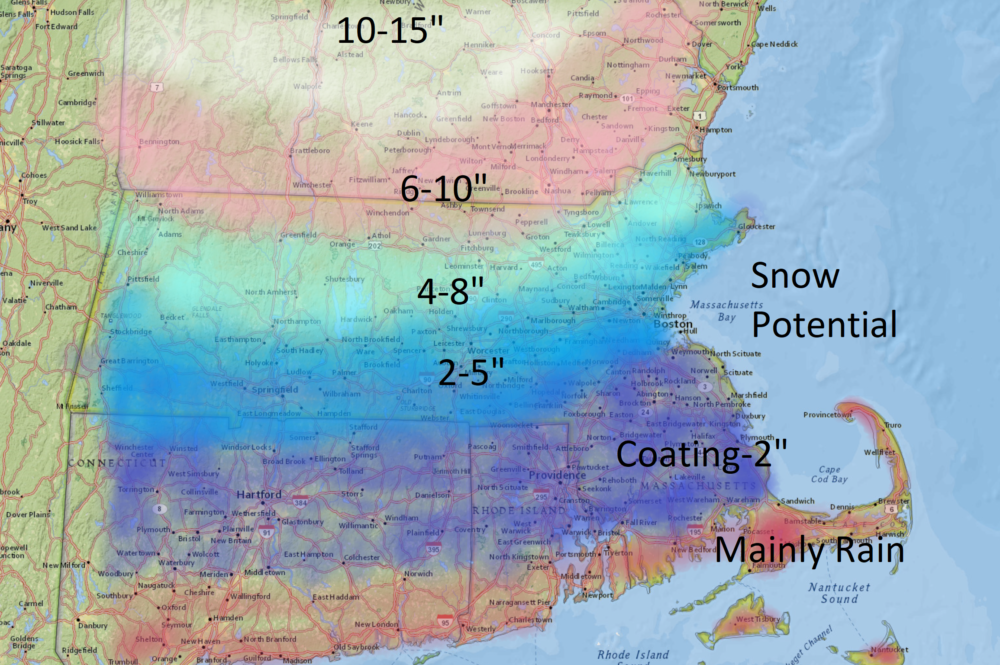 Warm air will prevent much of the region from seeing more than a few inches of snow. (Dave Epstein/WBUR)