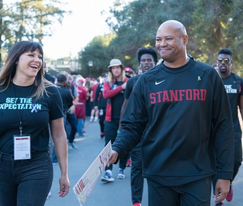 Brenda Tracy with Stanford football coach David Shaw. (Courtesy Brenda Tracy)