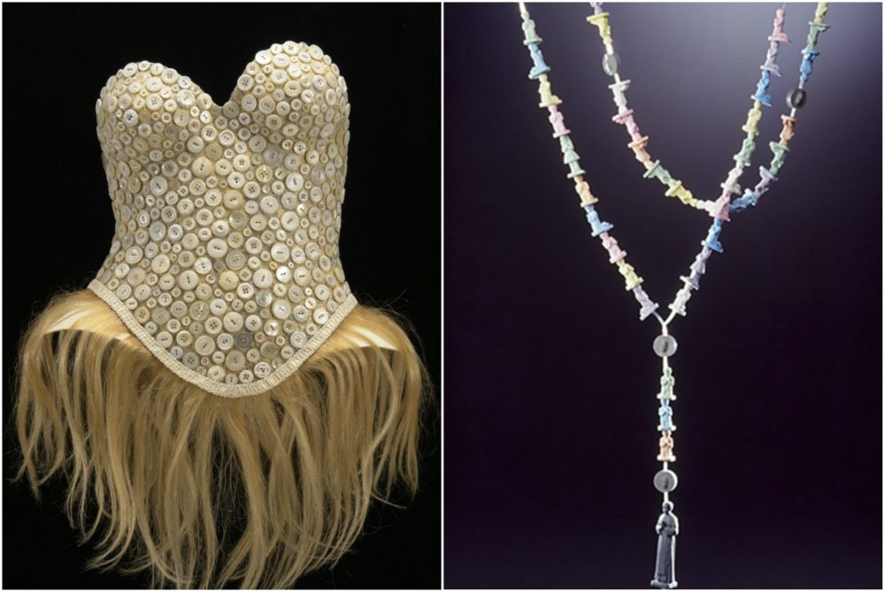 """Erica Spitzer Rasmussen's ivory-colored corset and Angela Gleason's """"Sins of Our Fathers."""" (Courtesy of the artists)"""