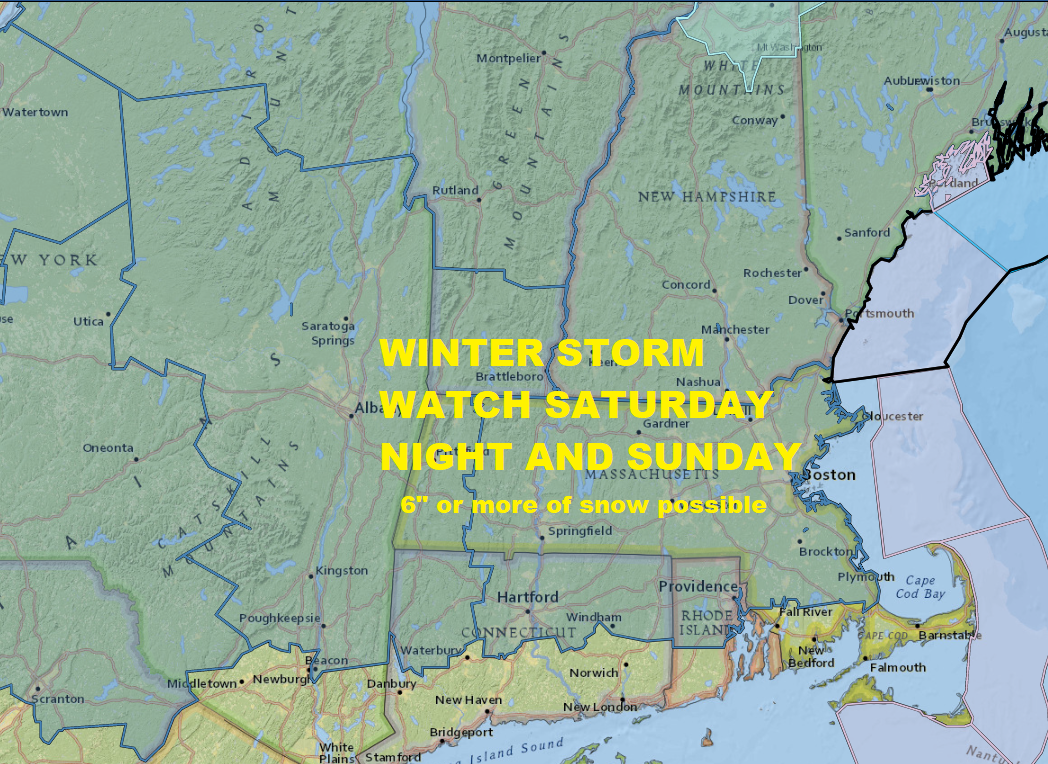 Winter Storm Watches for 6 inches or more of snow are posted. (Dave Epstein/NOAA Data)