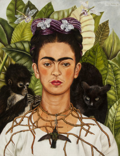 "Frida Kahlo's ""Self‑Portrait with Thorn Necklace and Hummingbird,"" painted in 1940. (Courtesy Museum of Fine Arts, Boston)"