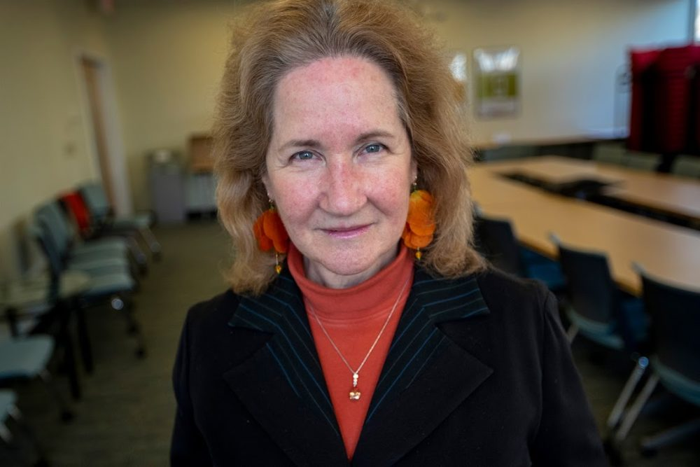 """Katherine Newman, author of """"Downhill From Here: Retirement Insecurity in the Age of Inequality"""" and interim chancellor of UMass Boston.(Jesse Costa/WBUR)"""