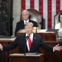 President Trump delivers his State of the Union address to a joint session of Congress on Capitol Hill in Washington, as Vice President Mike Pence and Speaker of the House Nancy Pelosi, D-Calif., watch on Feb. 5, 2019. (Andrew Harnik/AP)