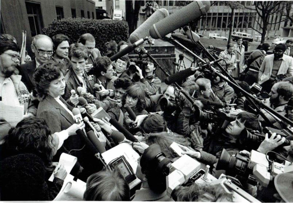 David Boeri, left of cameraman in the far center, at the trial of neo-Nazis in Seattle, Wa. in 1985. (Courtesy David Boeri)