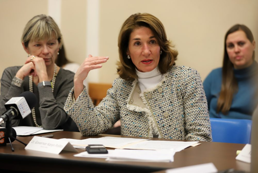 """Updating state laws regarding distribution of explicit images would """"better protect people from using technology as a weapon,"""" Lt. Gov. Karyn Polito said Wednesday. (Sam Doran/State House News Service)"""