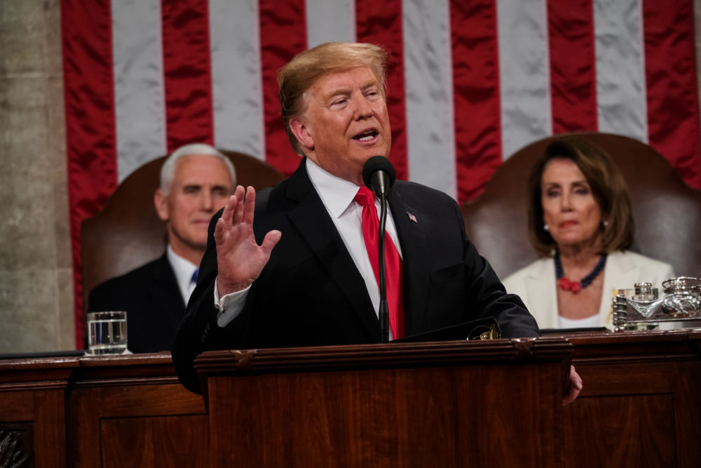 President Trump, with Speaker Nancy Pelosi and Vice President Mike Pence looking on, delivers the State of the Union address in the chamber of the House of Representatives at the U.S. Capitol on Feb. 5, 2019 in Washington, D.C. (Doug Mills-Pool/Getty Images)