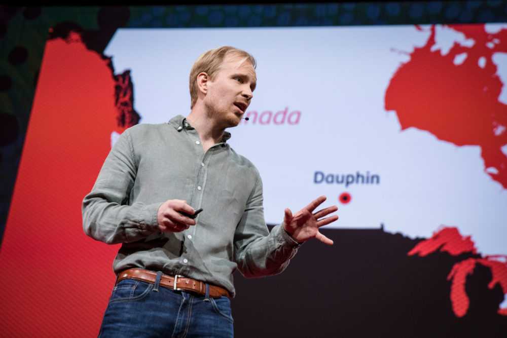 Rutger Bregman speaks at TED2017, in Vancouver, British Columbia, Canada. (Bret Hartman/Courtesy of TED via Flickr)