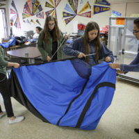 An all-girls science club from San Fernando High School in California has designed a solar-powered tent to tackle homelessness. (Scott Witter/Redux)