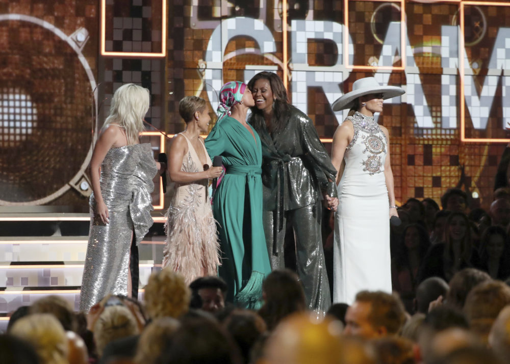 Lady Gaga, Jada Pinkett Smith, Alicia Keys, Michelle Obama and Jennifer Lopez at the start of the Grammys. (Matt Sayles/Invision/AP)