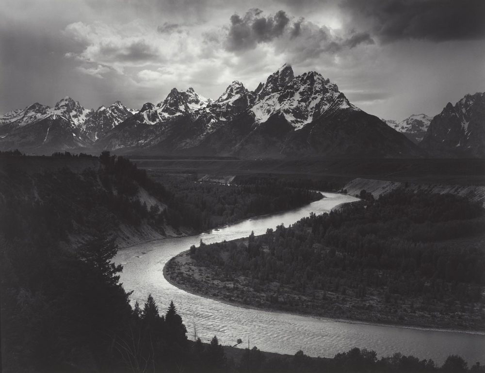 """Ansel Adams' photograph of """"The Tetons and Snake River, Grand Teton National Park, Wyoming,"""" taken in 1942. (Courtesy Museum of Fine Arts, Boston)"""