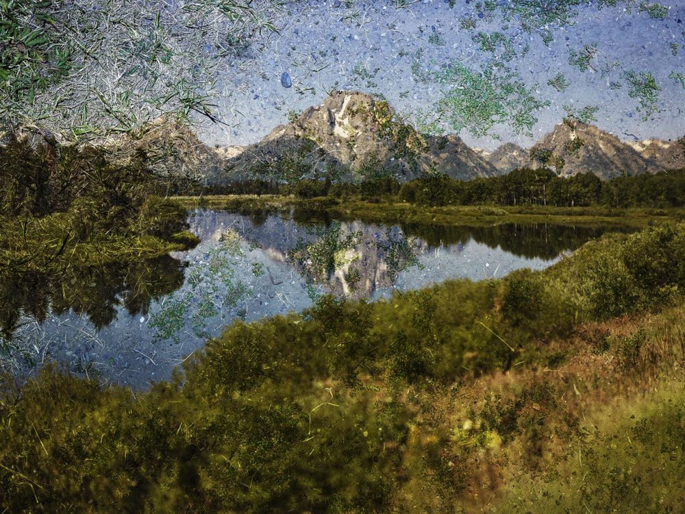 """Abelardo Morell's tent-camera image on the ground, titled """"View of Mount Moran and the Snake River from Oxbow Bend, Grand Teton National Park, Wyoming."""" (Courtesy Museum of Fine Arts, Boston)"""