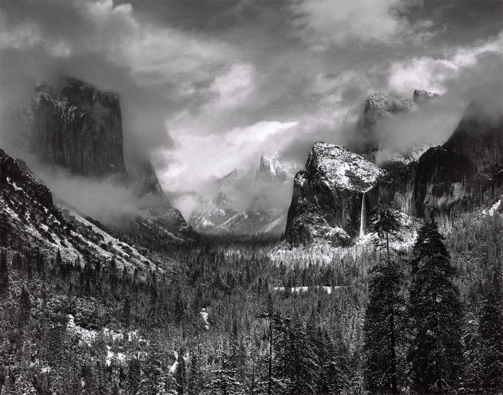 """Ansel Adams' """"Clearing Winter Storm,"""" taken in Yosemite National Park around 1937. (Courtesy Museum of Fine Arts, Boston)"""
