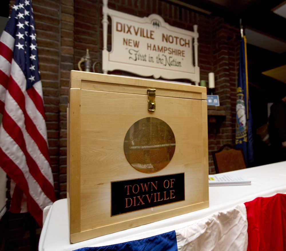 The ballot box used on Nov. 7, 2016, for residents in Dixville Notch, N.H., to vote at midnight. (Jim Cole/AP)