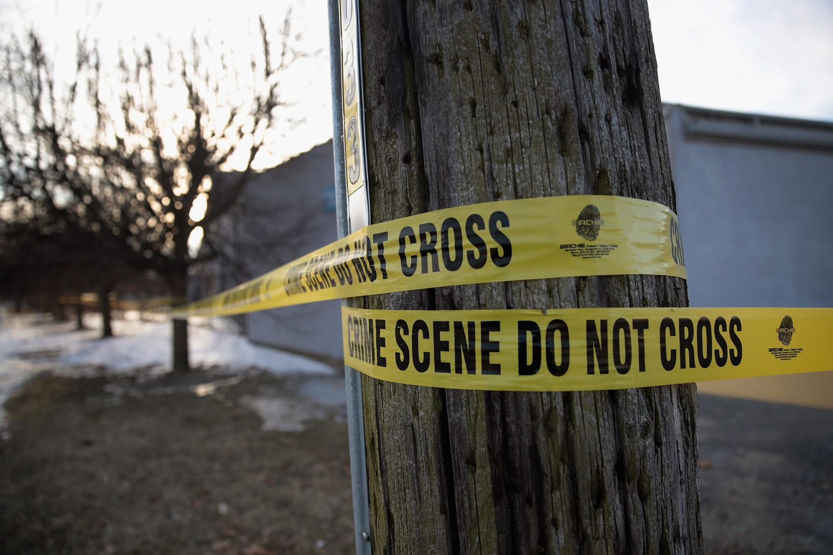 Crime-scene tape surrounds the Shetland Business Park following the shooting at the Henry Pratt Company on Feb. 16, 2019 in Aurora, Ill. (Scott Olson/Getty Images)