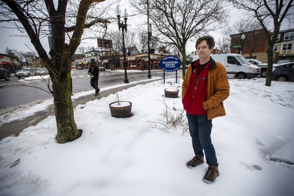 Eric Herot stands in Egelston Square. (Jesse Costa/WBUR)