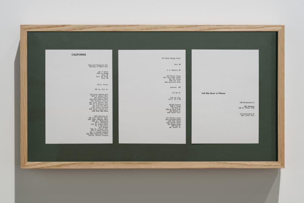"Kapwani Kiwanga's ""Greenbook"" installed at MIT. (Courtesy Peter Harris Studio)"
