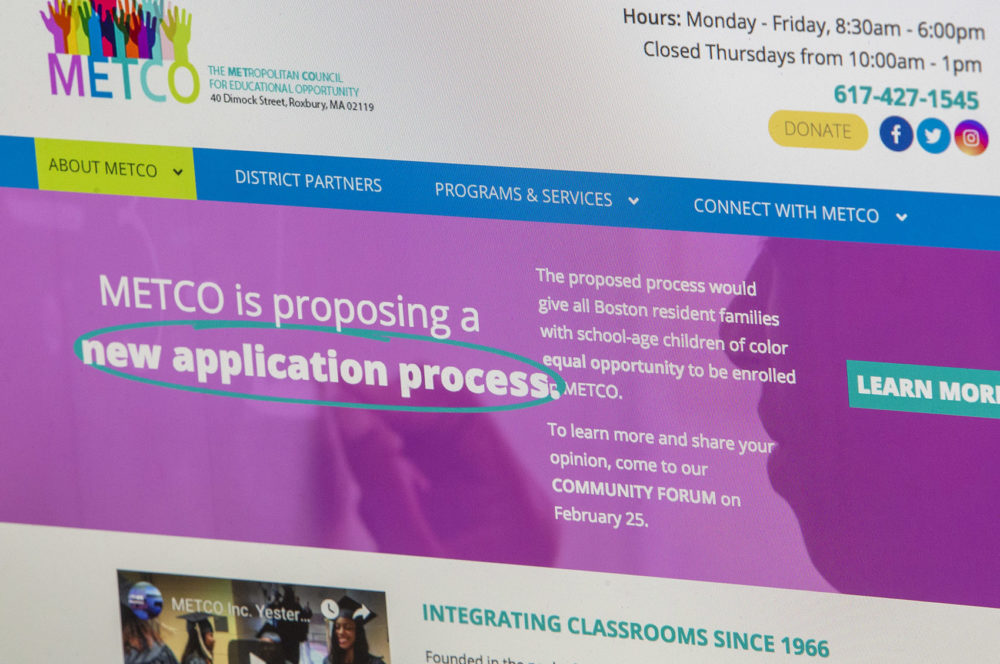 The METCO website is seen on Feb. 26, 2019. (JesseCosta/WBUR)