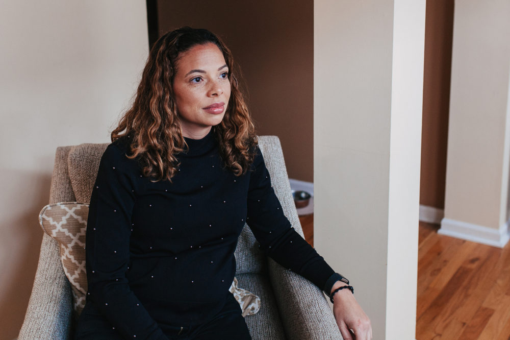 Kristin Ware at her Hyde Park townhouse in Chicago. Ware and her 2-year-old son are moving to Charlotte, N.C., in the spring. (Danielle Scruggs for Here & Now)
