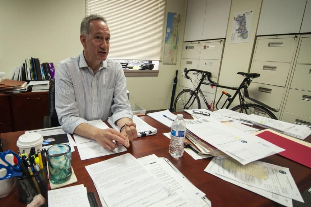 Joe Ferguson, Chicago's inspector general, in his office. (Chris Bentley/Here & Now)