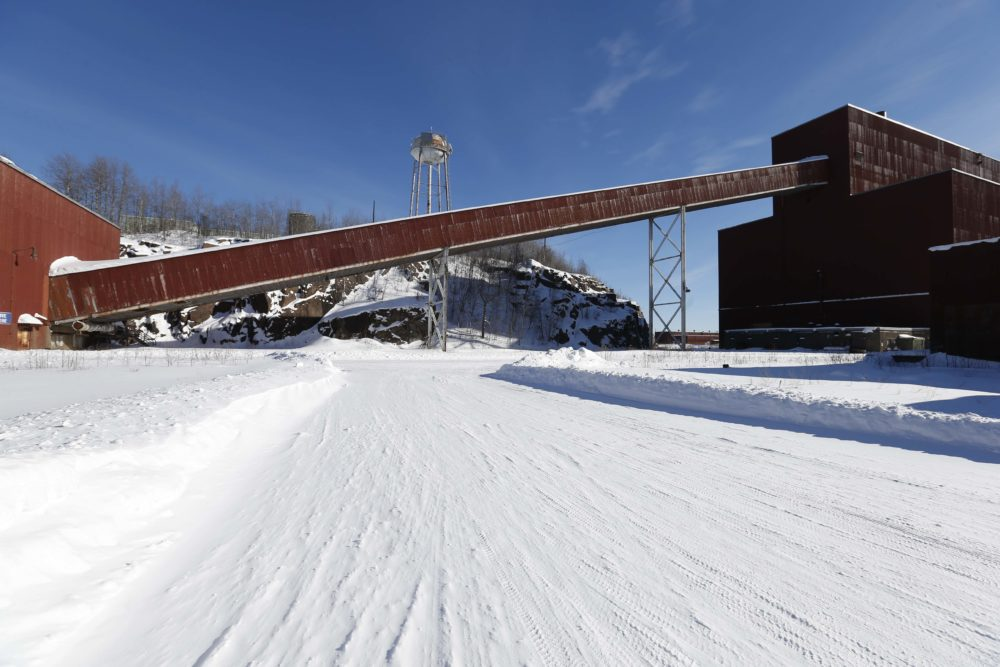 In this photo taken Feb. 10, 2016, the closed LTV Steel taconite plant is abandoned near Hoyt Lakes, Minn. The prospect remains of returning the site to life as part of Minnesota's first copper-nickel mine owned by PolyMet. (Jim Mone/AP)