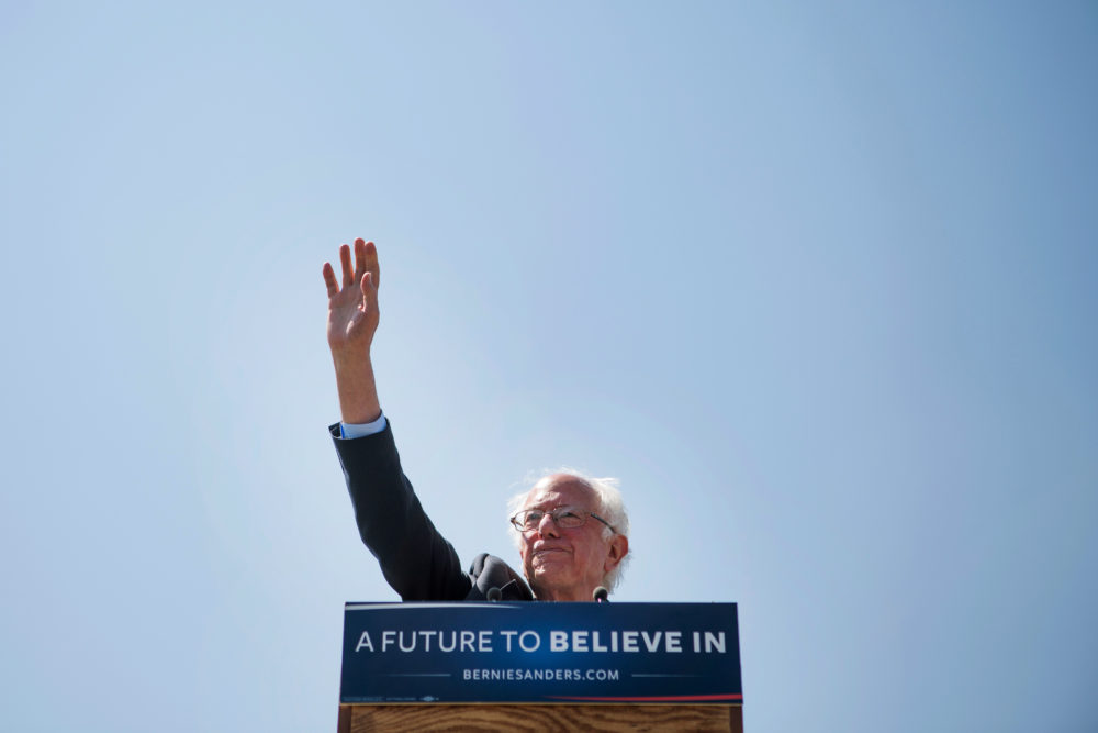 Sen. Bernie Sanders speaks at an event in Rapid City S.D