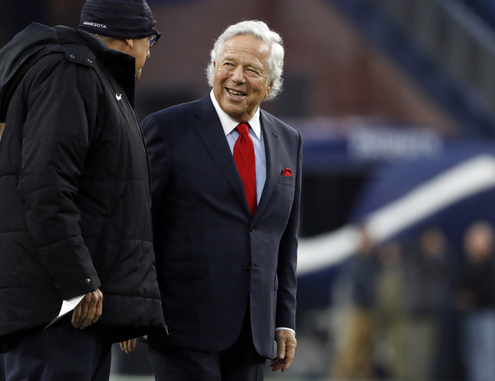 New England Patriots owner Robert Kraft on the field before a game at Gillette Stadium, Sunday, Dec. 2, 2018. (Winslow Townson/AP)