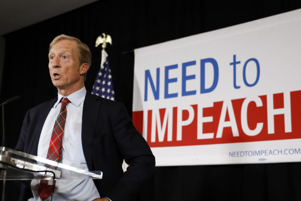 Billionaire investor and Democratic activist Tom Steyer speaks during a news conference where he announced his decision not to seek the 2020 Democratic presidential nomination, Wednesday, Jan. 9, 2019, at the Statehouse in Des Moines, Iowa. (Charlie Neibergall/AP)