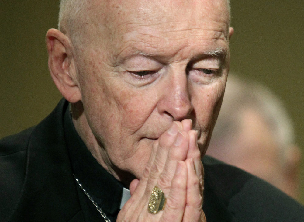 In this Nov. 14, 2011, file photo, then Cardinal Theodore McCarrick prays during the United States Conference of Catholic Bishops' annual fall assembly in Baltimore. (Patrick Semansky/AP)
