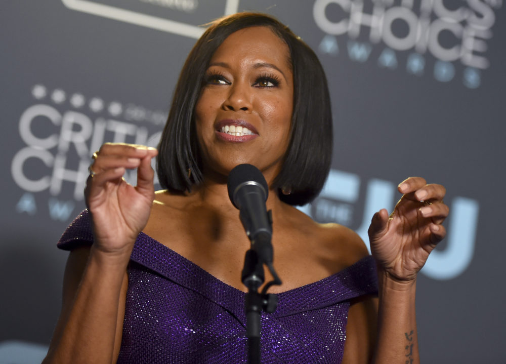 "Regina King poses in the press room with the award for best supporting actress for ""If Beale Street Could Talk"" at the 24th annual Critics' Choice Awards on Sunday, Jan. 13, 2019, at the Barker Hangar in Santa Monica, Calif. (Jordan Strauss/Invision/AP)"