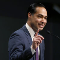 Julian Castro, candidate for the 2020 presidential nomination, speaks at Saint Anselm College on Jan. 16, 2019, in Manchester, N.H. (Mary Schwalm/AP)