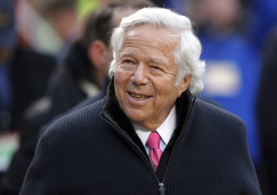 New England Patriots owner Robert Kraft walks on the field before the AFC Championship game between the Kansas City Chiefs and the Patriots on Jan. 20, 2019, in Kansas City. (Charlie Neibergall/AP)