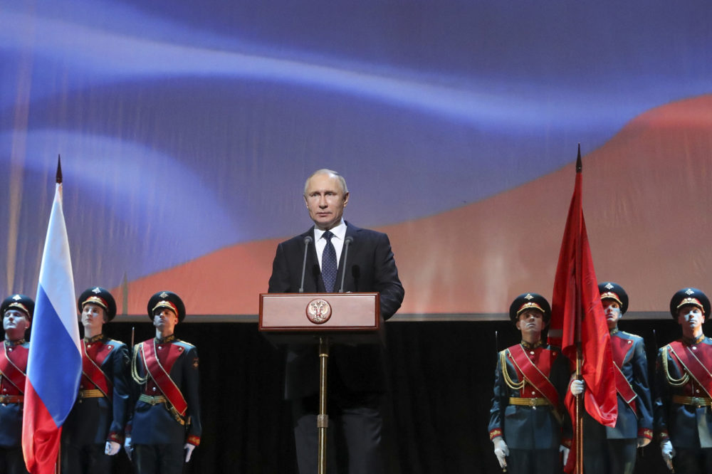 Russian President Vladimir Putin delivers his speech prior to a concert in St. Petersburg, Russia, Sunday, Jan. 27, 2019. (Mikhail Klimentyev, Sputnik, Kremlin Pool Photo via AP)