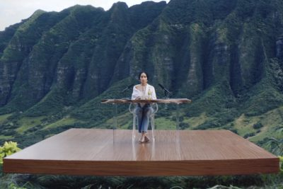 This image from video provided by Michelob shows a frame from their 2019 Super Bowl commercial for Michelob Ultra Pure Gold. The ad features the actress Zoe Kravitz using techniques for autonomous sensory meridian response, or ASMR. It is described as a tingly euphoric response, usually starting on the head and scalp, and sometimes spreading down the neck, arms or back. (Michelob ULTRA via AP)