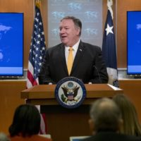 Secretary of State Mike Pompeo speaks at a news conference at the State Department in Washington, Friday, Feb. 1, 2019. Secretary of State Mike Pompeo has announced that the U.S. is pulling out of a treaty with Russia that's been a centerpiece of arms control since the Cold War. (Andrew Harnik/AP)
