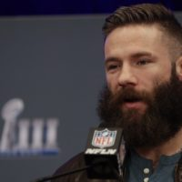 New England Patriots wide receiver Julian Edelman on Monday, Feb. 4, 2019, before shaving his beard on The Ellen DeGeneres Show. (Morry Gash/AP)