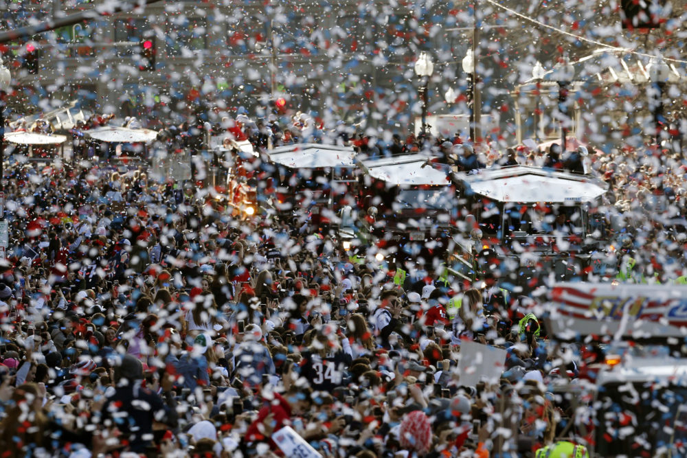The New England Patriots parade makes its way through downtown Boston, Tuesday, Feb. 5, 2019, to celebrate their win over the Los Angeles Rams in Sunday's NFL Super Bowl 53 football game in Atlanta. (AP Photo/Michael Dwyer)
