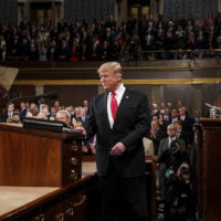 President Donald Trump delivered the State of the Union address, with Vice President Mike Pence and Speaker of the House Nancy Pelosi, at the Capitol in Washington, DC on February 5, 2019. (Doug Mills/The New York Times via AP, Pool)