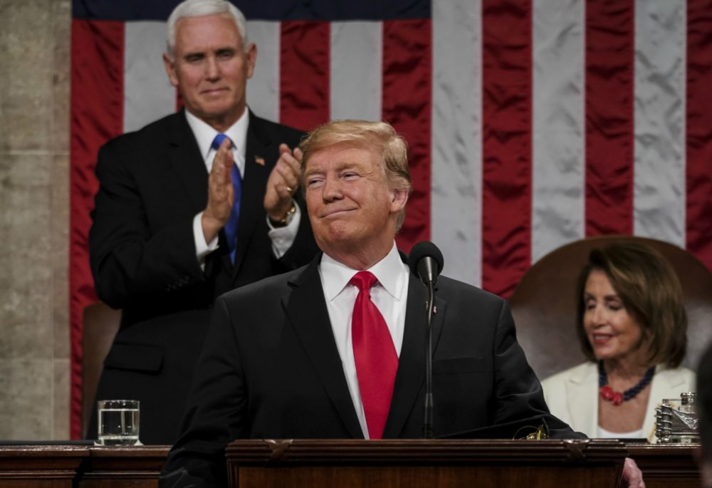 President Trump delivers the State of the Union address, with Vice President Mike Pence and Speaker of the House Nancy Pelosi behind. (Doug Mills/AP)